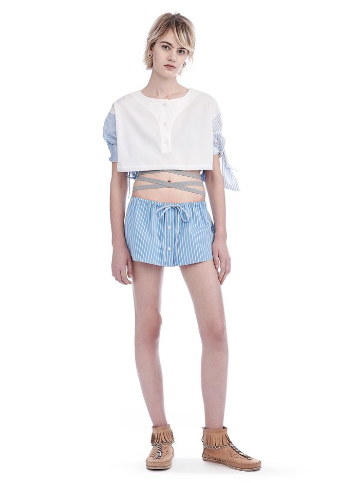 ALEXANDER WANG SHORTS STRIPED SHIRTING MINI SKIRT AND RUNNING SHORT HYBRID