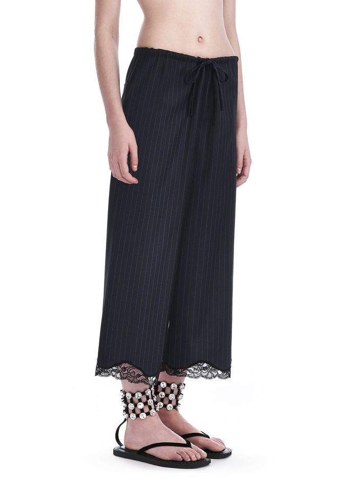 ALEXANDER WANG PANTS Women PINSTRIPE CROPPED WIDE-LEG PANTS WITH LACE HEM