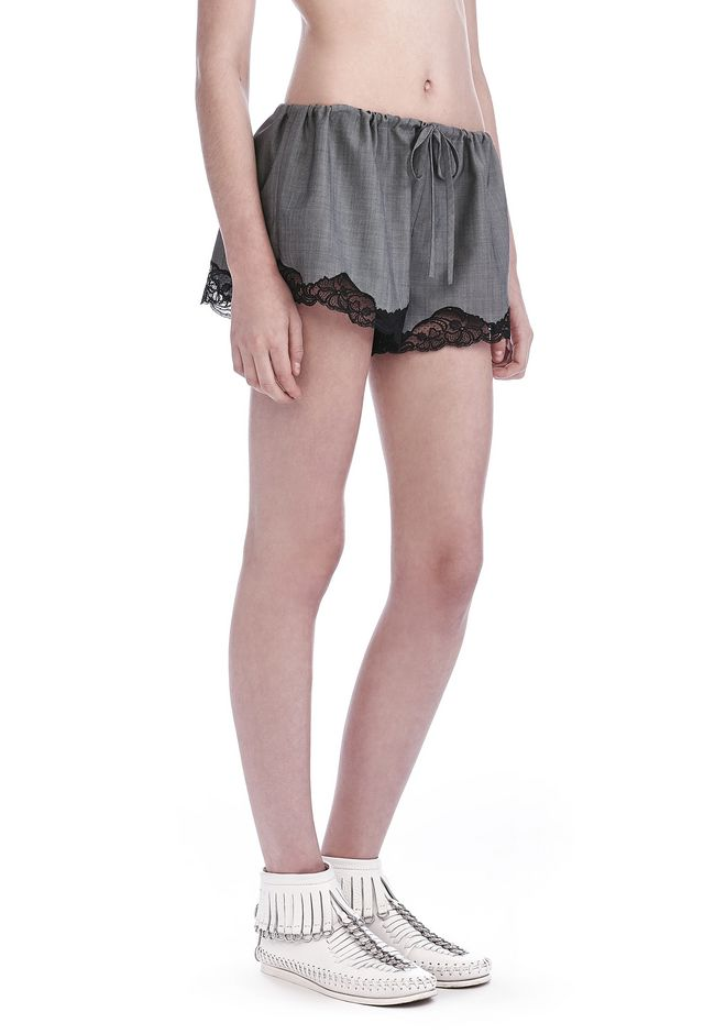 ALEXANDER WANG new-arrivals-ready-to-wear-woman TAILORED BLOOMER SHORTS WITH LACE HEM