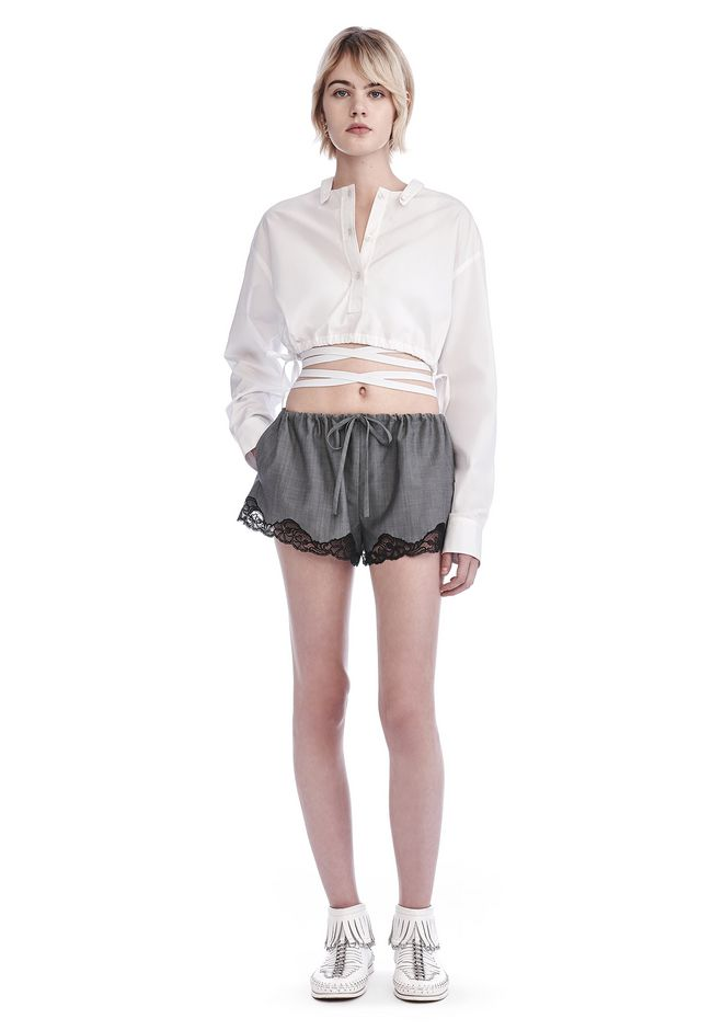 ALEXANDER WANG SHORTS TAILORED BLOOMER SHORTS WITH LACE HEM