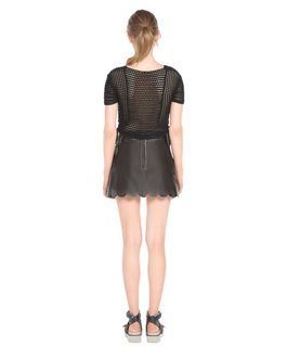 07a207949e REDValentino Scallop Trim Leather Skirt - Skirt for Women ...