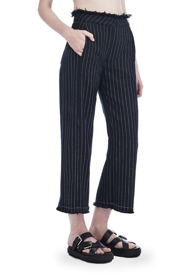 T by ALEXANDER WANG PANTS Women COTTON BURLAP HIGH WAISTED CROPPED PANTS