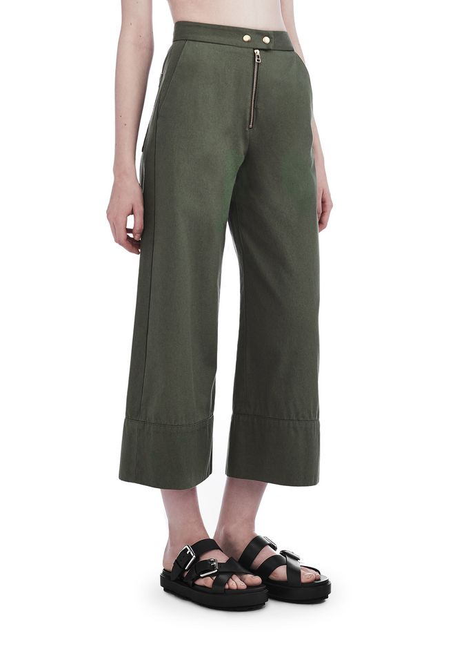 T by ALEXANDER WANG PANTS GARMENT WASHED COTTON CROPPED PANTS
