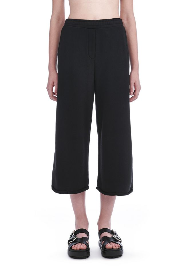 ALEXANDER WANG FRENCH TERRY CROPPED WIDE LEG SWEATPANTS, BLACK