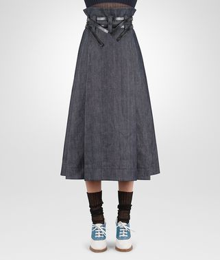 SKIRT IN DARK NAVY HEAVY DRILL DENIM NERO CALF, LEATHER DETAILS