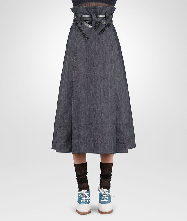 BOTTEGA VENETA SKIRT IN DARK NAVY HEAVY DRILL DENIM NERO CALF, LEATHER DETAILS Skirt or trouser D fp