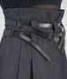 BOTTEGA VENETA SKIRT IN DARK NAVY HEAVY DRILL DENIM NERO CALF, LEATHER DETAILS Skirt or trouser Woman ap