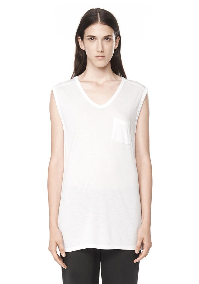 T by ALEXANDER WANG t-by-alexander-wang-classics CLASSIC MUSCLE TEE WITH POCKET