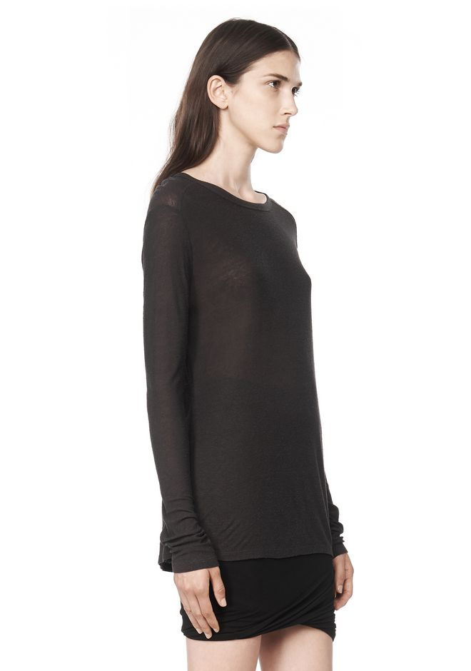 T by ALEXANDER WANG SLUB CLASSIC LONG SLEEVETEE  TEE Adult 12_n_a
