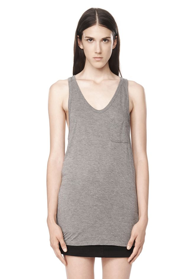 T by ALEXANDER WANG CLASSIC TANK WITH POCKET TOP Adult 12_n_e