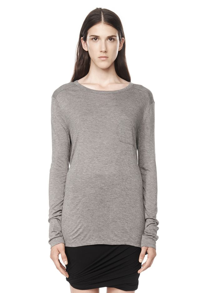 T by ALEXANDER WANG t-by-alexander-wang-classics CLASSIC LONG SLEEVE TEE WITH POCKET