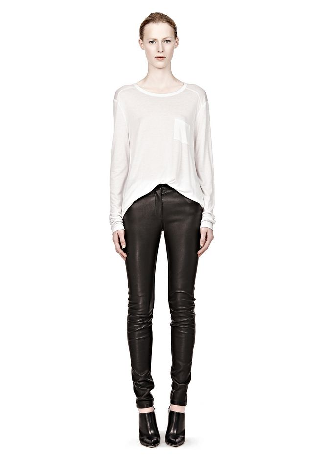 T by ALEXANDER WANG CLASSIC LONG SLEEVE TEE WITH POCKET Long sleeve t-shirt Adult 12_n_f