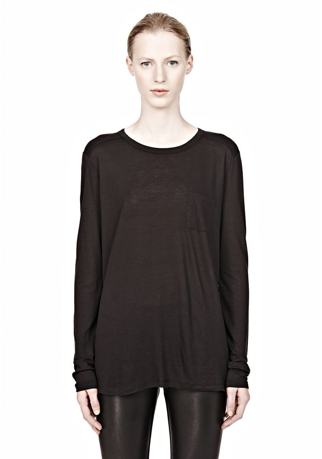 T by ALEXANDER WANG CLASSIC LONG SLEEVE TEE WITH POCKET Long sleeve t-shirt Adult 12_n_e