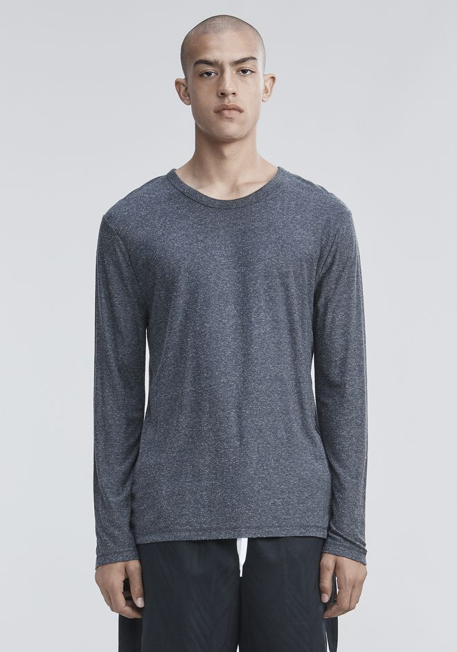 T by ALEXANDER WANG LONG SLEEVE TEES Men SLUB RAYON SILK LONG SLEEVE TEE