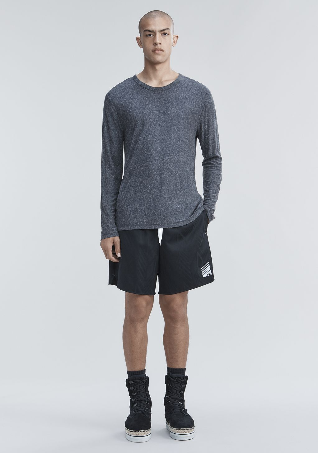 Alexander Wang Slub Rayon Silk Long Sleeve Tee Long Sleeve