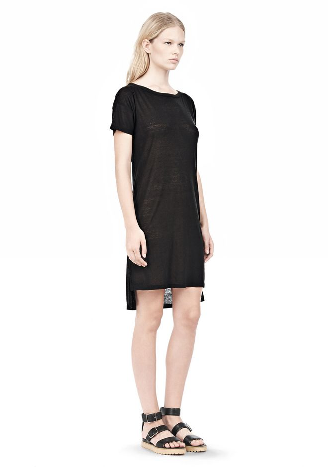 T by ALEXANDER WANG SLUB CLASSIC BOATNECK DRESS  Short Dress Adult 12_n_d