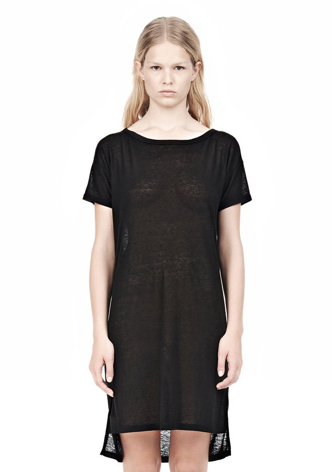 T by ALEXANDER WANG SLUB CLASSIC BOATNECK DRESS  Short Dress Adult 12_n_e