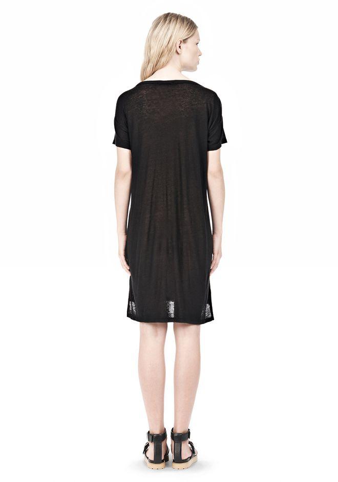 T by ALEXANDER WANG SLUB CLASSIC BOATNECK DRESS  Short Dress Adult 12_n_r