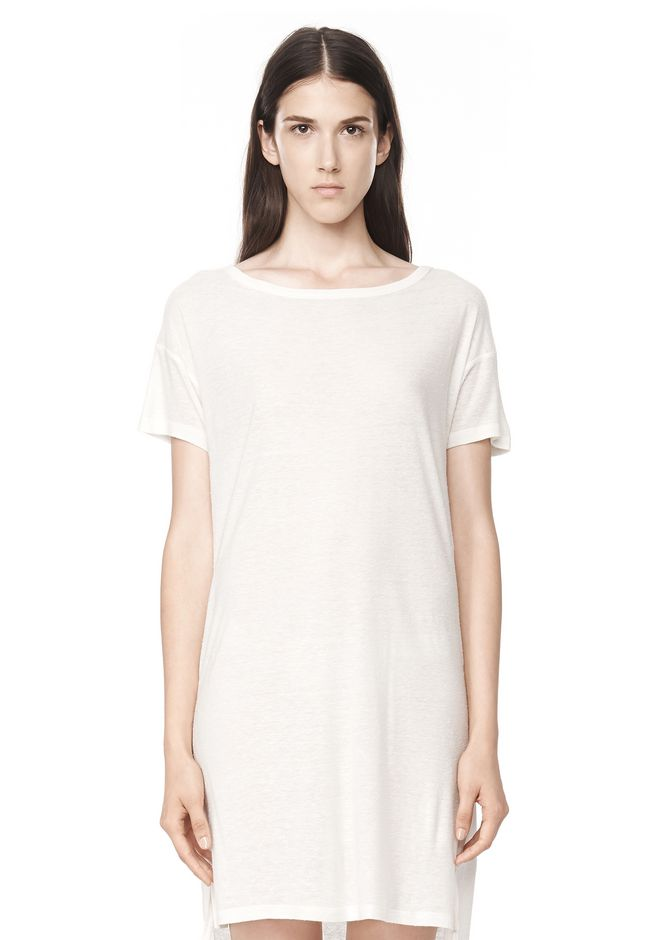 T by ALEXANDER WANG SLUB CLASSIC BOATNECK DRESS  Short Dress Adult 12_n_e