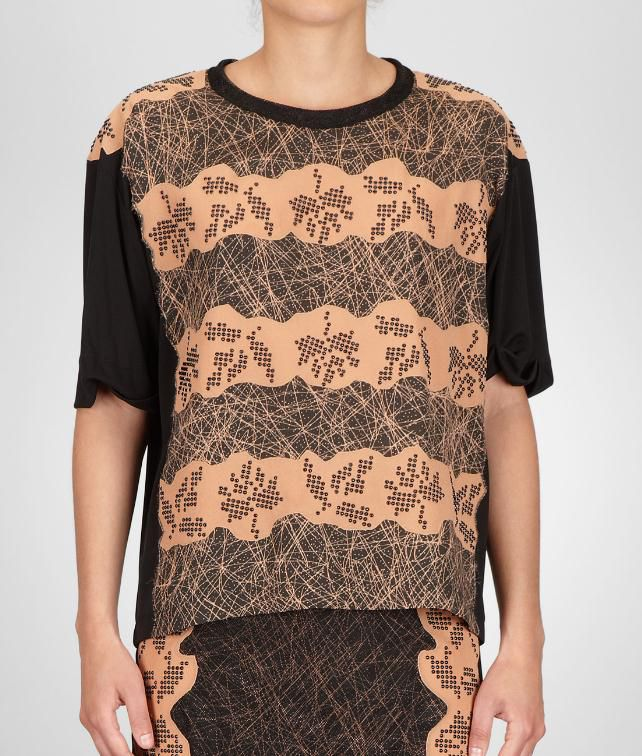 BOTTEGA VENETA Studded Viscose Crepe Printed Top Sweater and top D fp