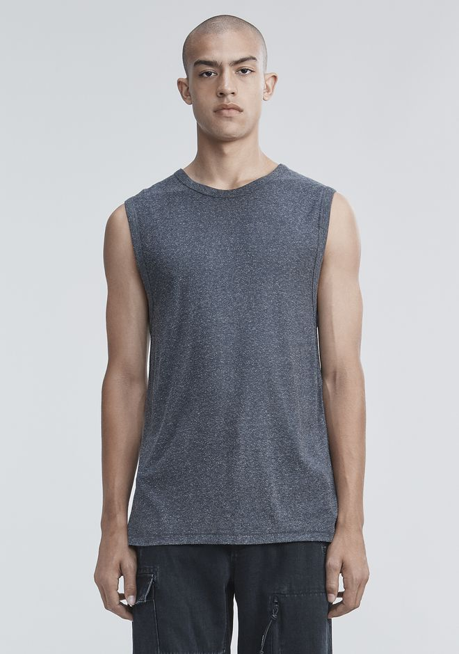 T by ALEXANDER WANG VESTS Men SLUB RAYON SILK MUSCLE TEE