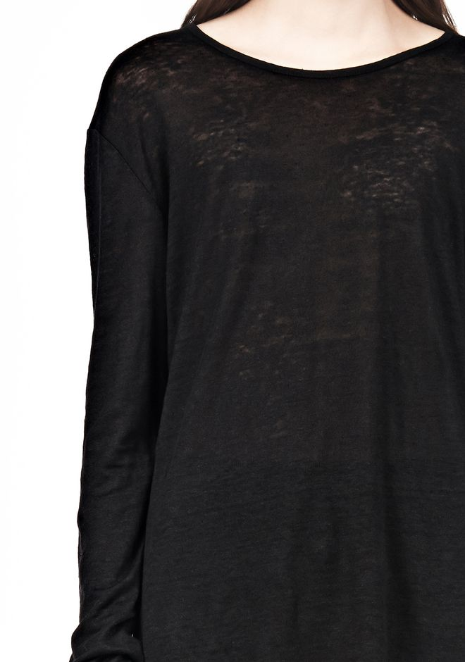 T by ALEXANDER WANG LINEN SILK LONG SLEEVE TEE TOP Adult 12_n_a