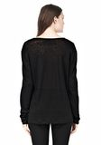 T by ALEXANDER WANG LINEN SILK LONG SLEEVE TEE TOP Adult 8_n_d