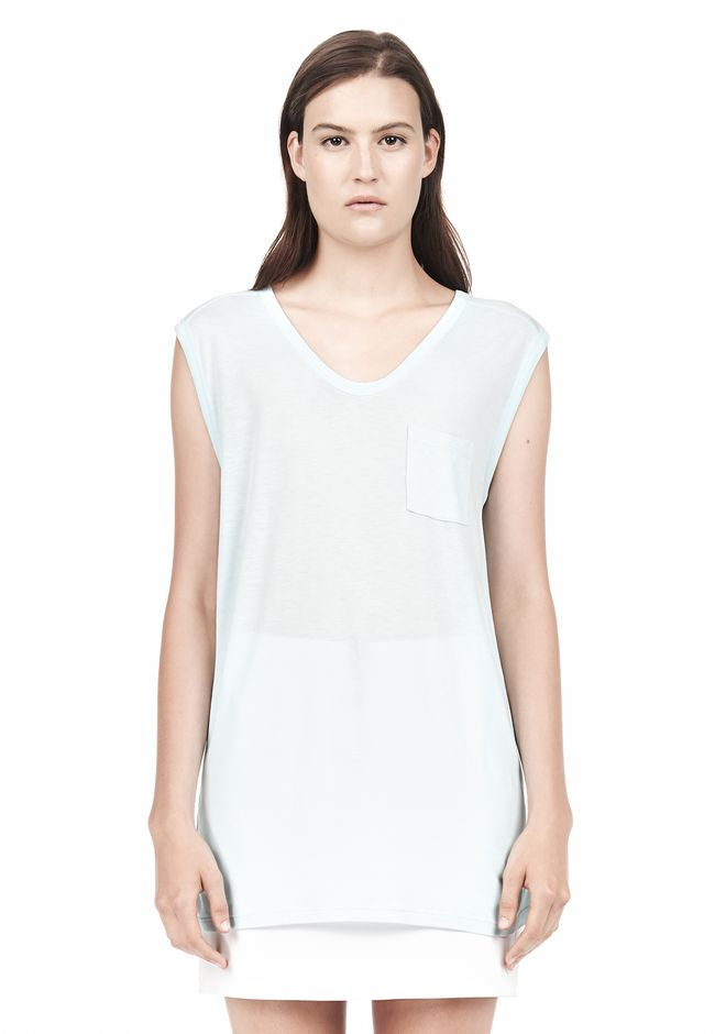 T by ALEXANDER WANG MUSCLE TEE WITH POCKET TOP Adult 12_n_e