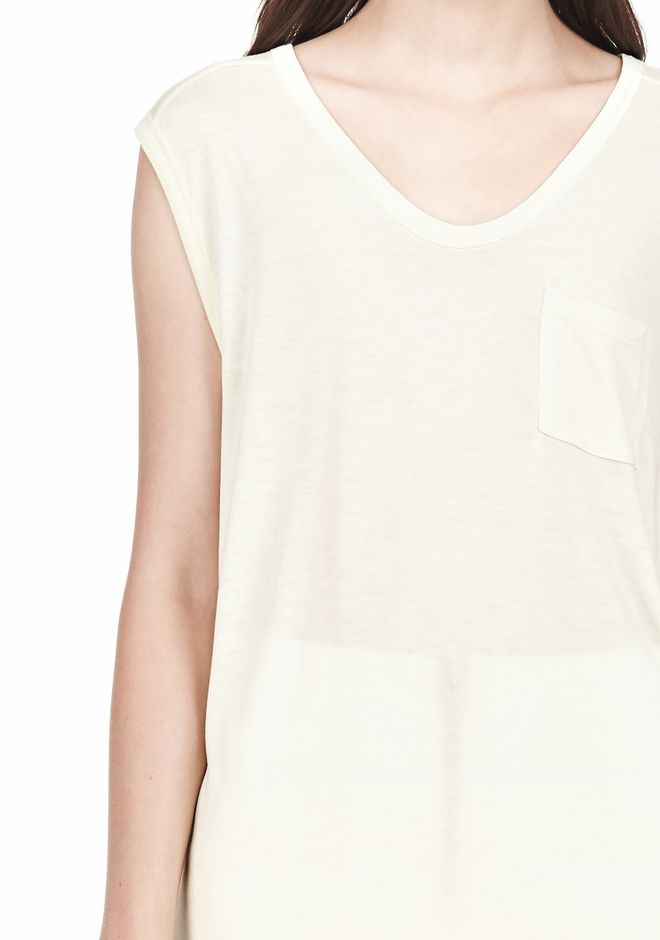 T by ALEXANDER WANG MUSCLE TEE WITH POCKET TOP Adult 12_n_a