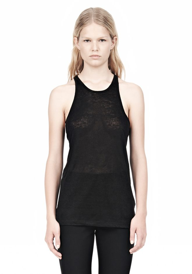 T by ALEXANDER WANG LINEN SILK JERSEY TANK TOP Adult 12_n_e