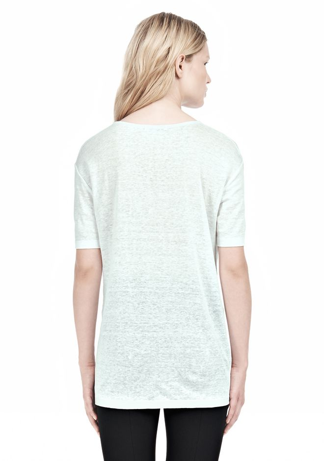 T by ALEXANDER WANG LINEN SILK SHORT SLEEVE TEE TOP Adult 12_n_d