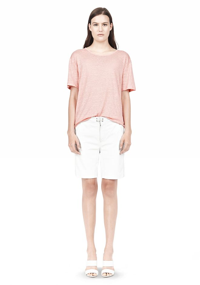 T by ALEXANDER WANG LINEN SILK SHORT SLEEVE TEE TOP Adult 12_n_f