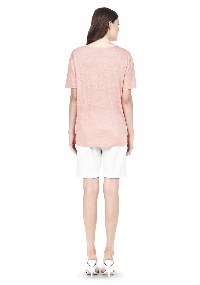 T by ALEXANDER WANG LINEN SILK SHORT SLEEVE TEE TOP Adult 12_n_r