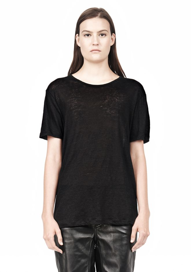T by ALEXANDER WANG LINEN SILK SHORT SLEEVE TEE TOP Adult 12_n_e