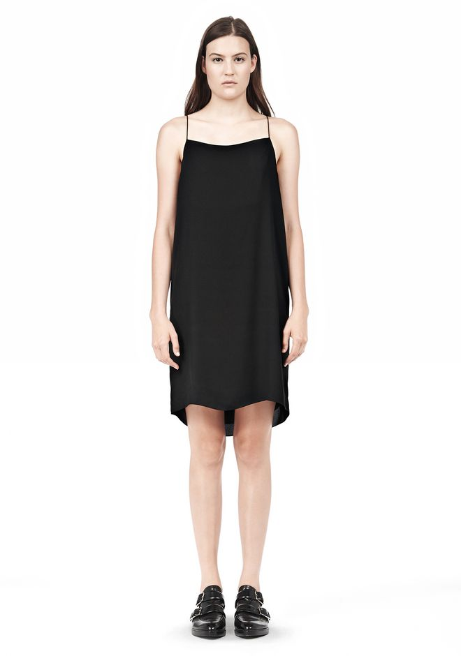 T by ALEXANDER WANG SILK SQUARE NECK SLIP DRESS Short Dress Adult 12_n_f