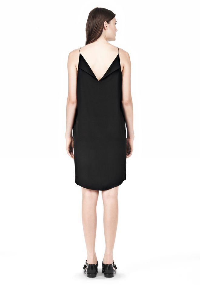 T by ALEXANDER WANG SILK SQUARE NECK SLIP DRESS Short Dress Adult 12_n_r