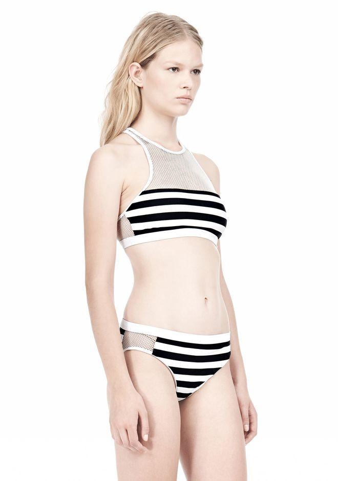 T by ALEXANDER WANG STRIPE MESH COMBO CREWNECK RACERBACK SWIM TOP Swimwear Adult 12_n_d