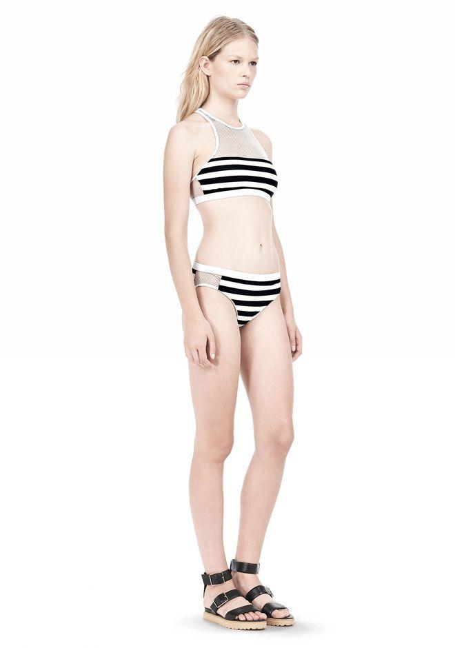 T by ALEXANDER WANG STRIPE MESH COMBO CREWNECK RACERBACK SWIM TOP Swimwear Adult 12_n_e