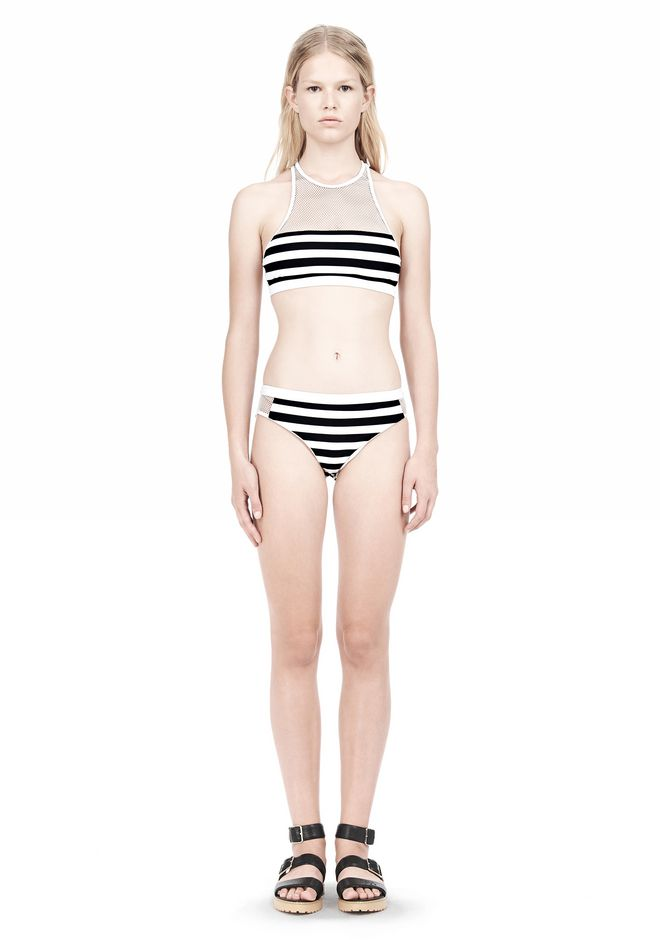 T by ALEXANDER WANG STRIPE MESH COMBO CREWNECK RACERBACK SWIM TOP Swimwear Adult 12_n_f