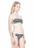 T by ALEXANDER WANG STRIPE MESH COMBO CREWNECK RACERBACK SWIM TOP Swimwear Adult 8_n_d