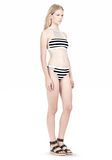 T by ALEXANDER WANG STRIPE MESH COMBO CREWNECK RACERBACK SWIM TOP Swimwear Adult 8_n_e