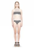 T by ALEXANDER WANG STRIPE MESH COMBO CREWNECK RACERBACK SWIM TOP Swimwear Adult 8_n_f