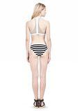 T by ALEXANDER WANG STRIPE MESH COMBO CREWNECK RACERBACK SWIM TOP Swimwear Adult 8_n_r