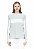 T by ALEXANDER WANG COTTON MERINO BLEND STRIPE PULLOVER TOP Adult 8_n_e