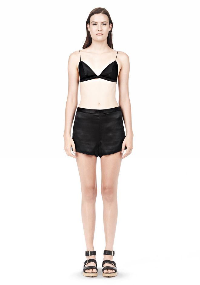 T by ALEXANDER WANG SILK SATIN TRIANGLE BRA TOP Adult 12_n_f