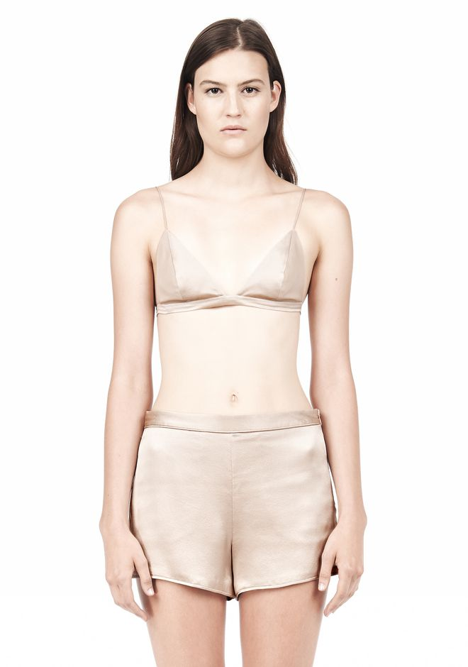 T by ALEXANDER WANG SILK SATIN TRIANGLE BRA TOP Adult 12_n_e