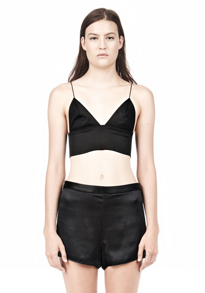T by ALEXANDER WANG SILK SATIN TRIANGLE BRALETTE TOP Adult 12_n_e