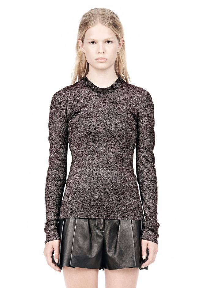 ALEXANDER WANG RIBBED LUREX CREWNECK WITH PINCHED DARTS TOP Adult 12_n_e
