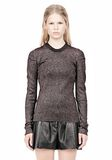 ALEXANDER WANG RIBBED LUREX CREWNECK WITH PINCHED DARTS TOP Adult 8_n_e
