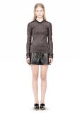 ALEXANDER WANG RIBBED LUREX CREWNECK WITH PINCHED DARTS TOP Adult 8_n_f